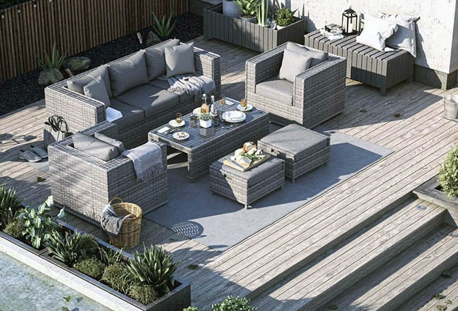 Olefin outdoor couch and armchairs