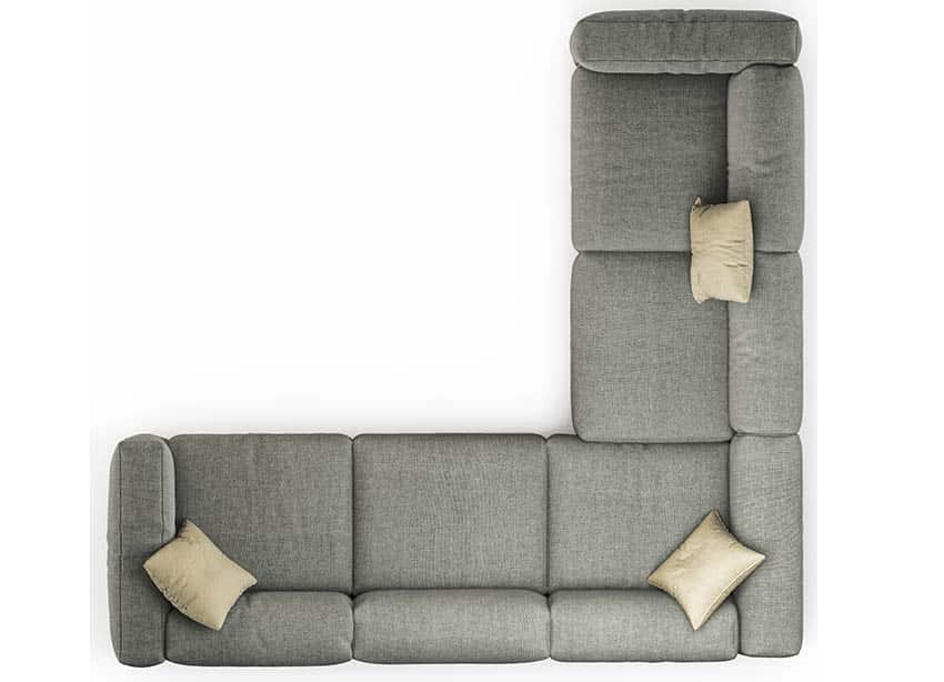 Polyester sectional sofa from above