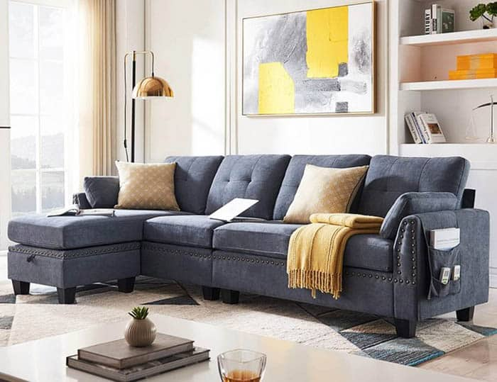 Reversible sectional sofa in gray