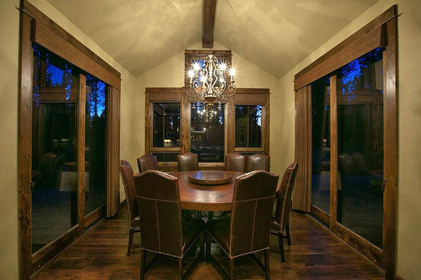 Romantic dining room at night with round table