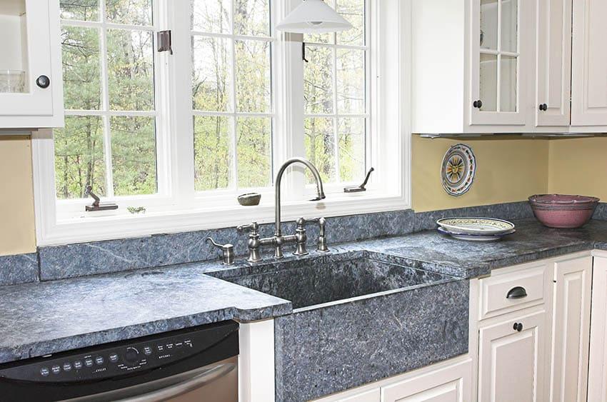 Slate countertop sink with window