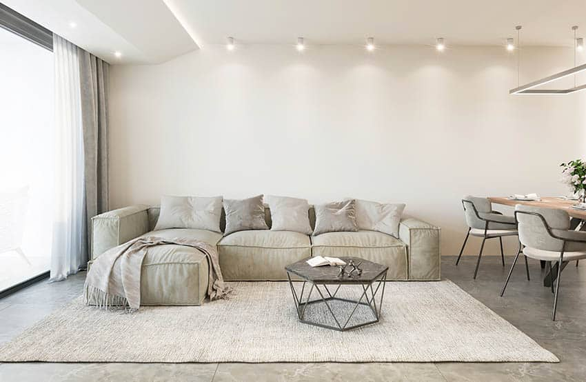 Square arm sectional sofa light gray color