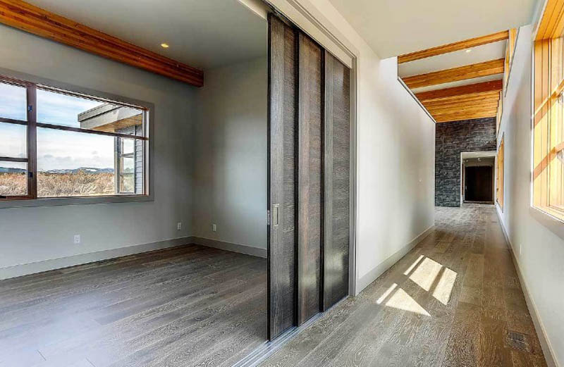 Study room office with sliding doors