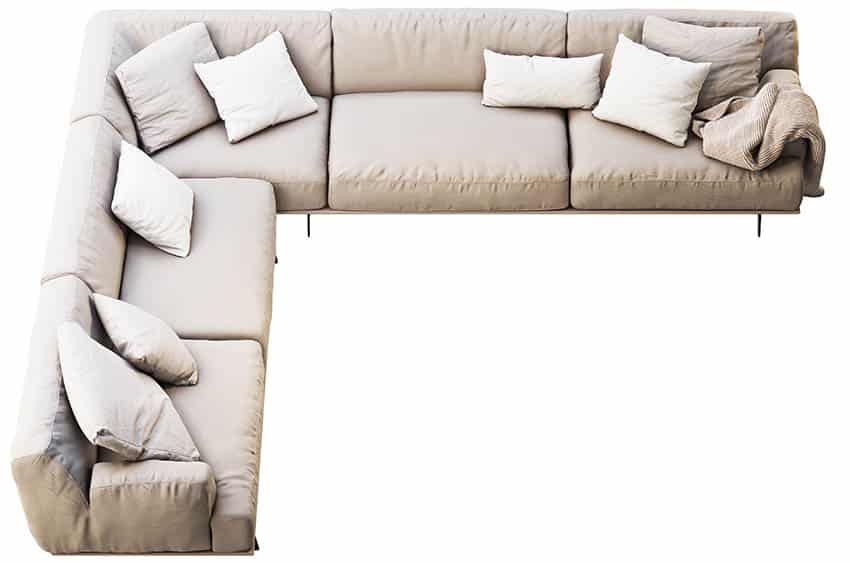 Top view of sectional sofa with cotton fabric