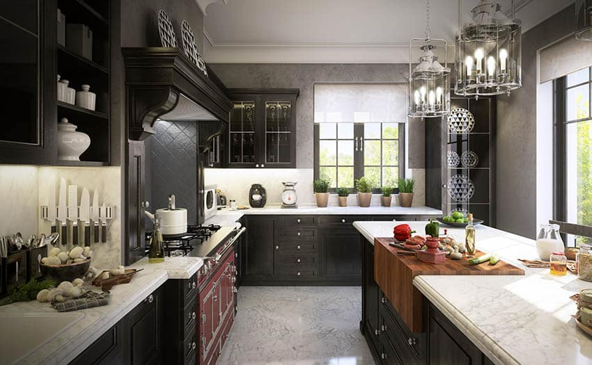 Traditional kitchen with marble look corian countertops black cabinets