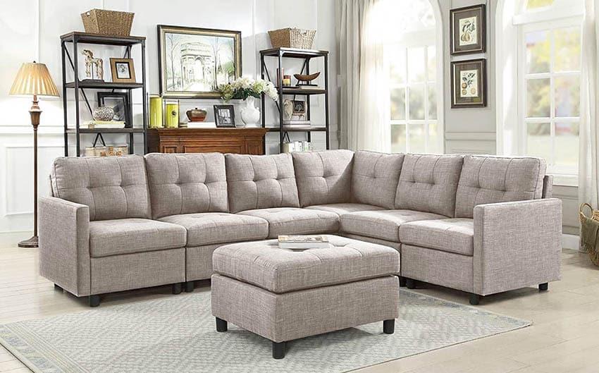 Traditional sectional sofa with ottoman