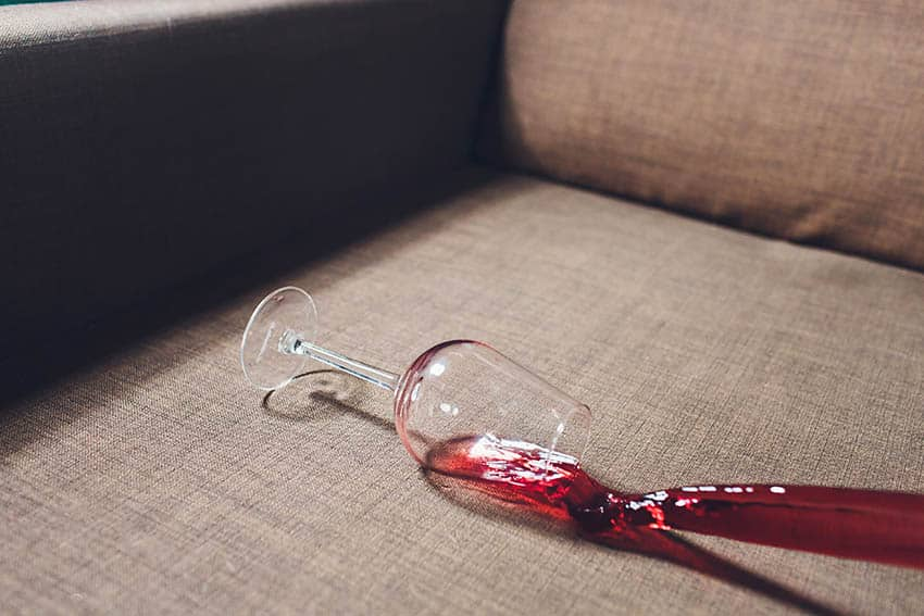 Wine stain on couch