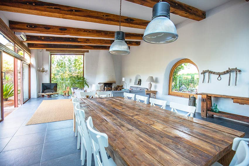 Wood dining table at covered patio