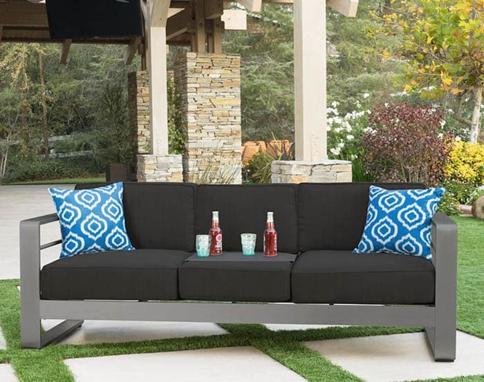 Aluminum patio sofa with water resistant polyester cushions