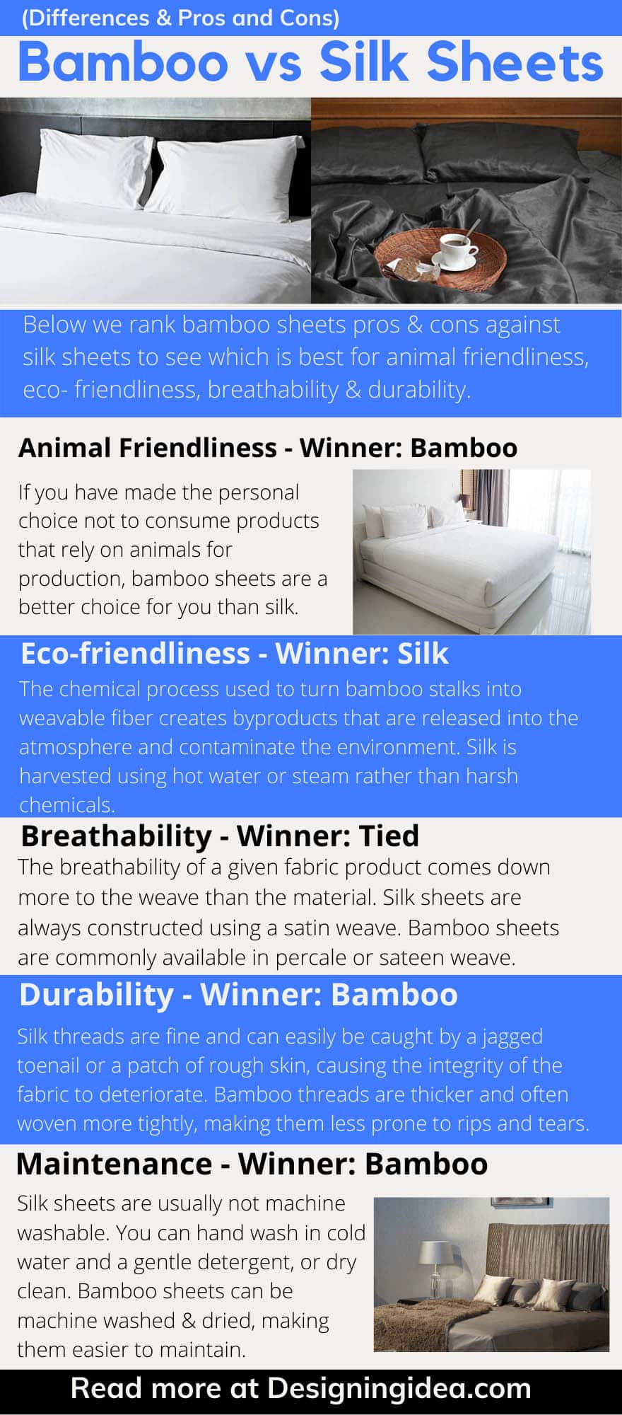 Bamboo vs silk sheets pros cons infographic