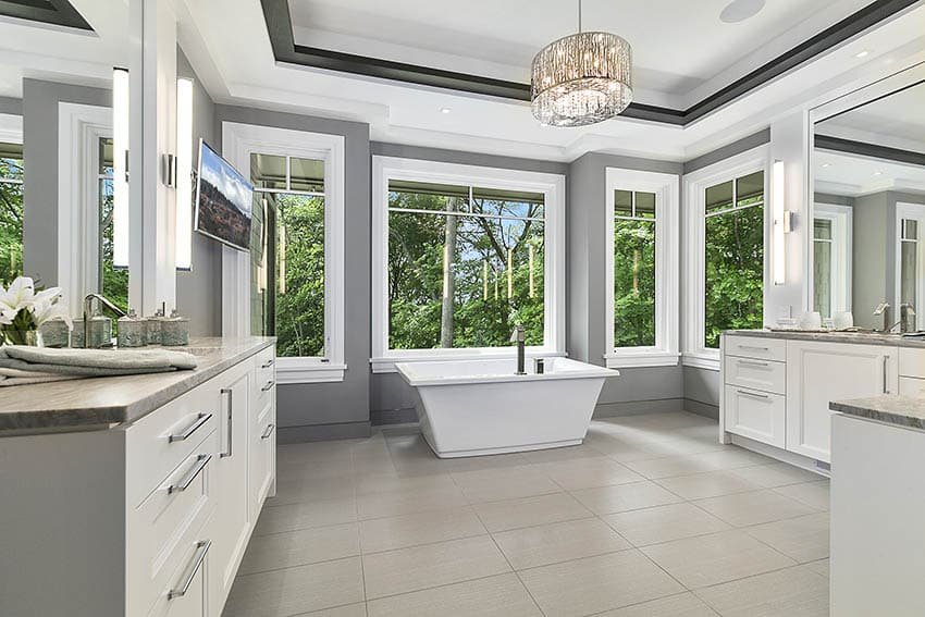 Bathroom dual vanities waterfall faucets beige tile and gray paint