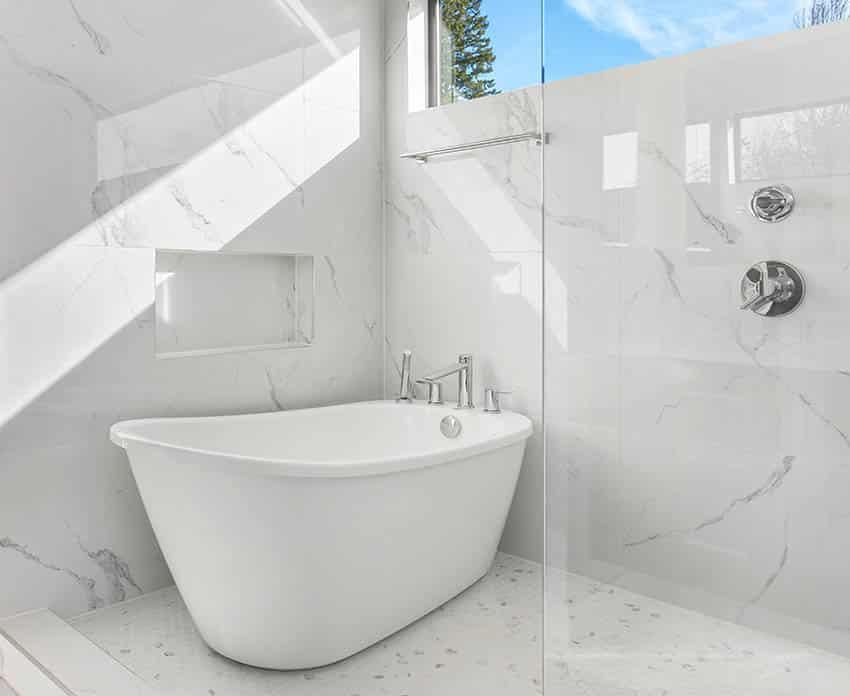 Bathroom freestanding tub waterfall faucet wet room shower