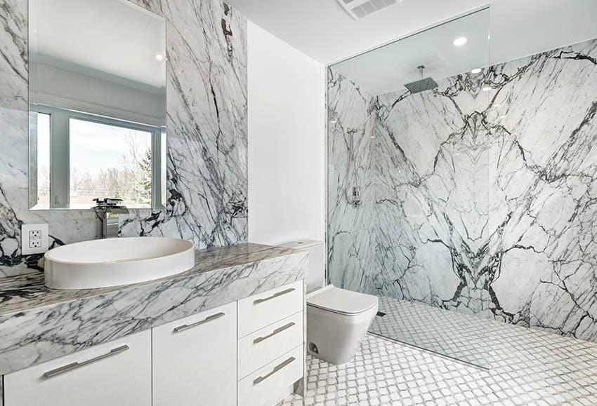 Bathroom vanity with waterfall faucet quartz shower