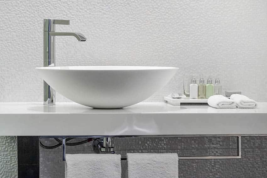 Bathroom vessel sink with chrome faucet