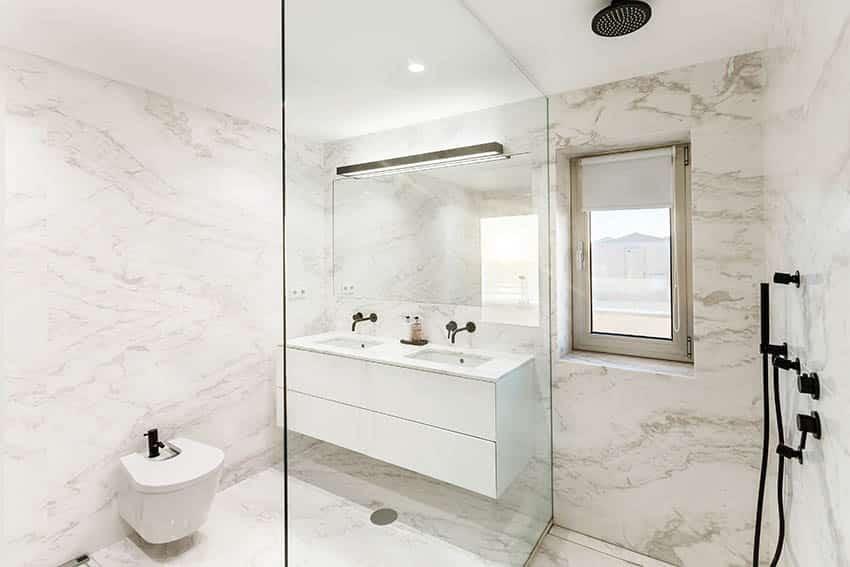 Bathroom wet room with quartz shower walls floating vanity
