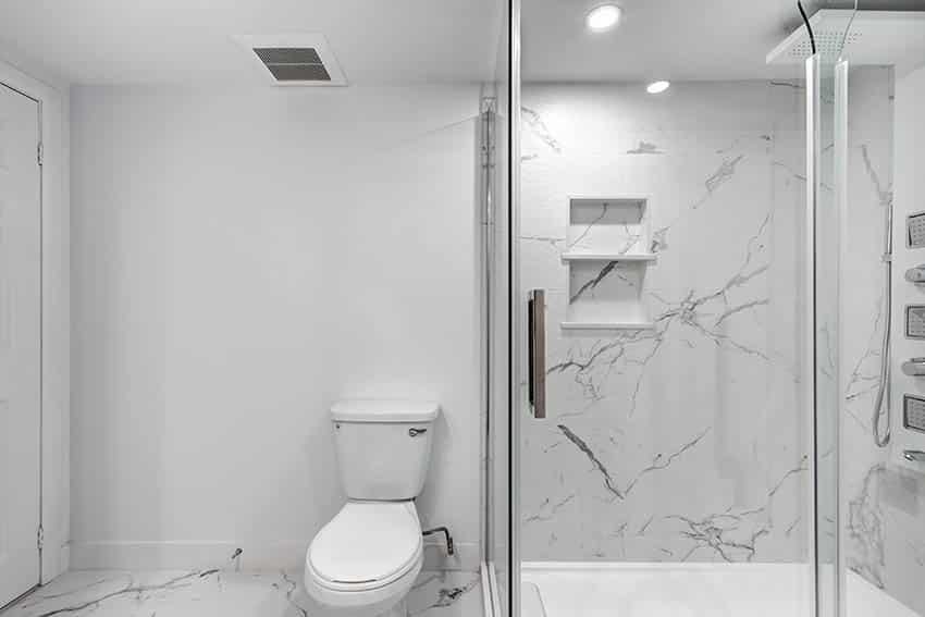 Bathroom with calacatta quartz shower walls