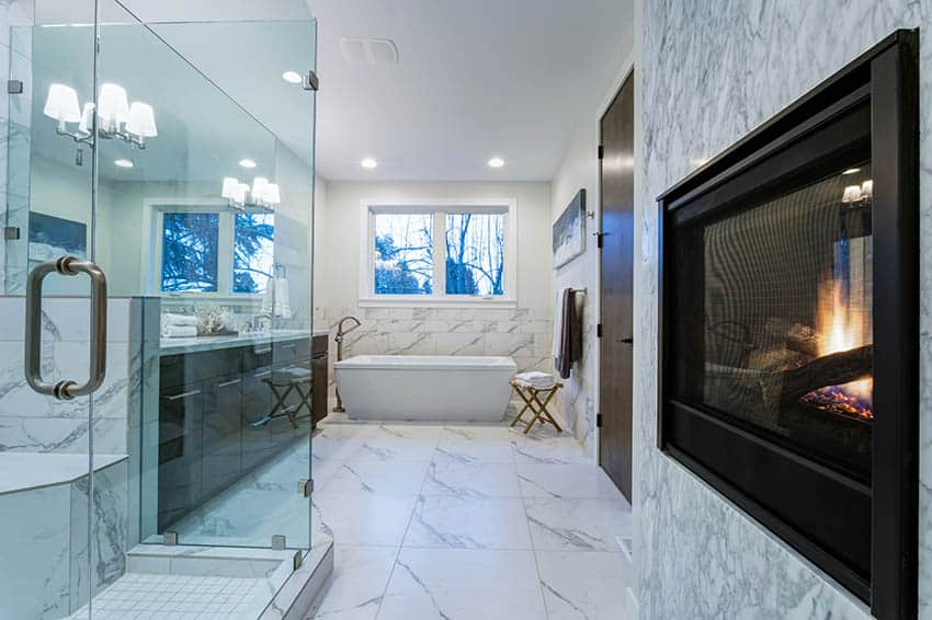 Bathroom with marble style vinyl sheet flooring