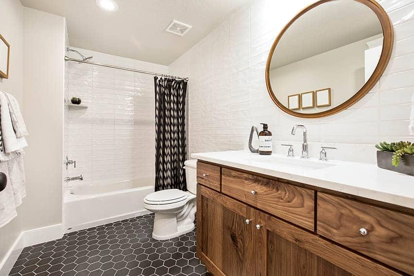 Bathroom with patterned hexagon vinyl tile floor