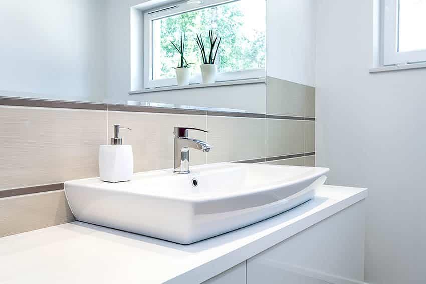 Bathroom with porcelain vessel sink