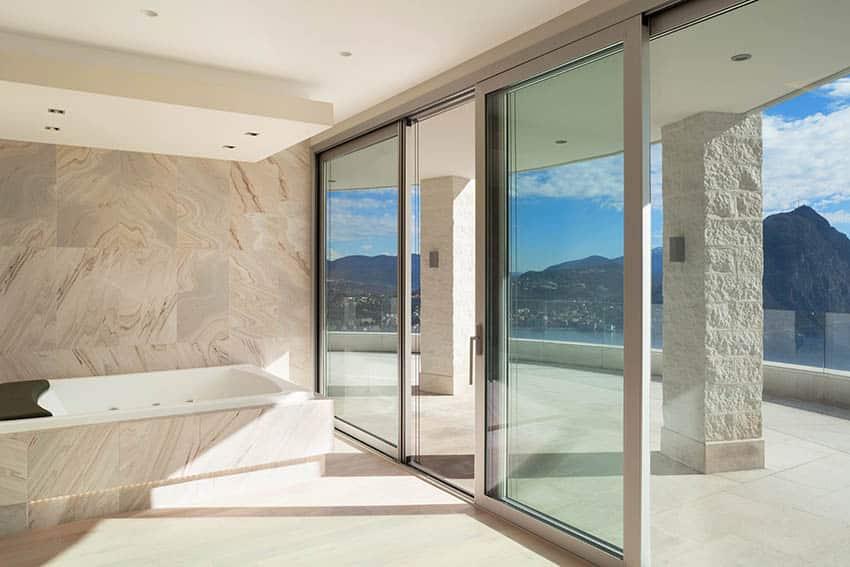 Bathroom with sliding doors to patio