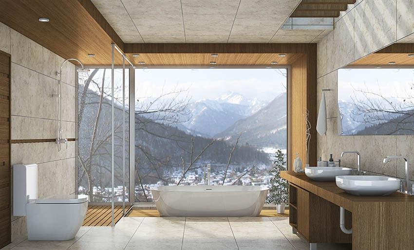 Bathroom with teak floor shower freestanding tub with picture window