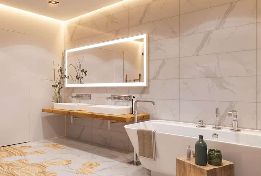 Bathroom with vessel sinks wood floating vanity freestanding tub