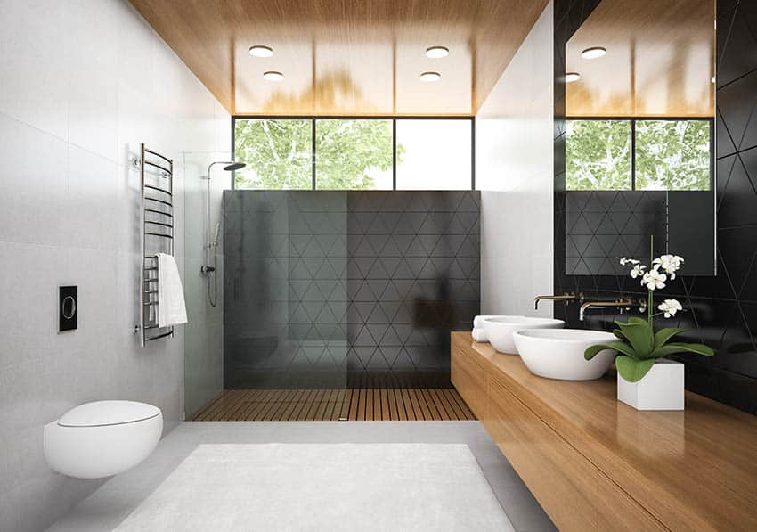 Bathroom with walk in shower and teak floors