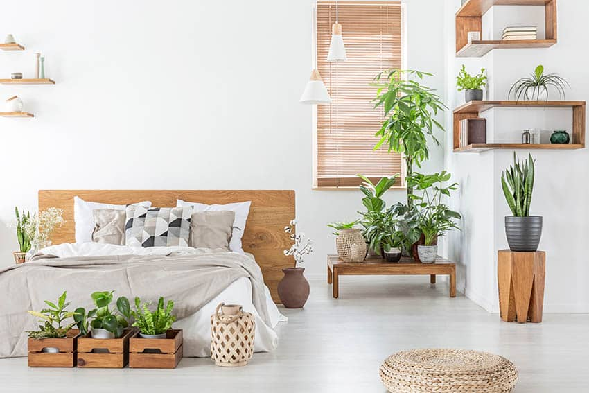 Bedroom with brown blinds