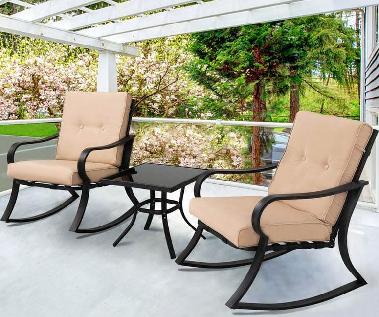 Black steel outdoor patio furniture rockers with table
