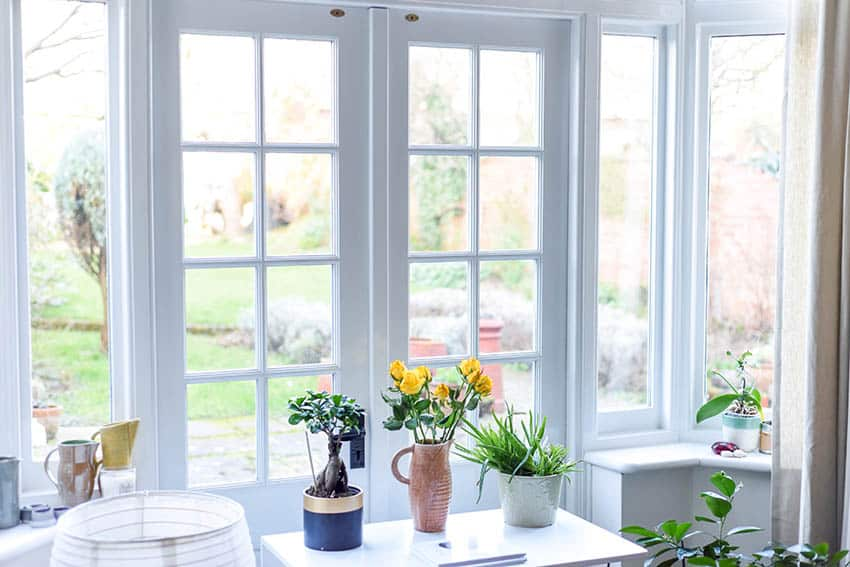 Bright white exterior french doors