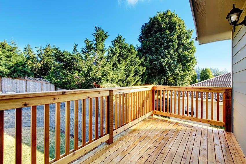 Cedar wood deck with wood railing