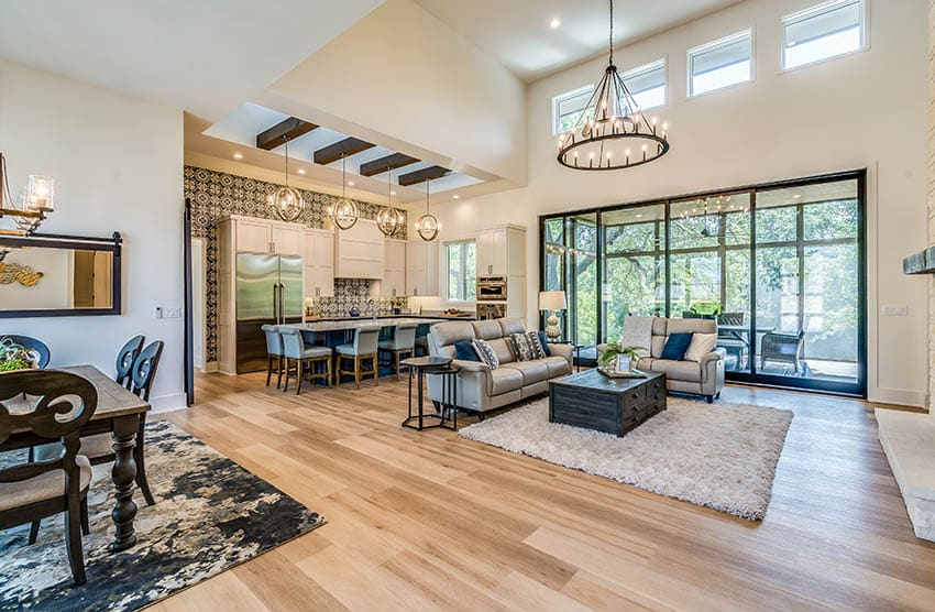 Contemporary living room with paint same color for walls ceiling