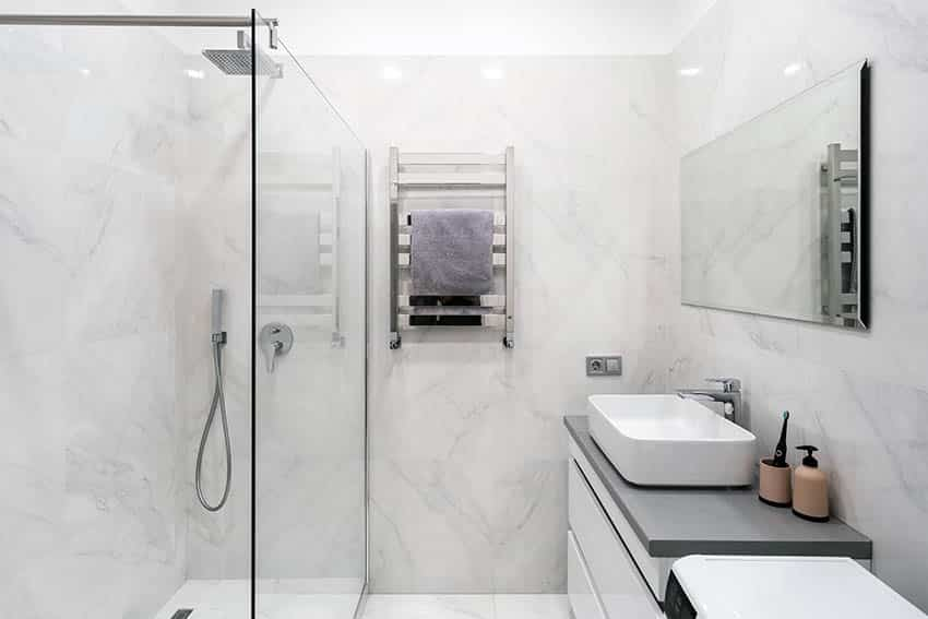Corian shower wall enclosure bathroom with vessel sink vanity