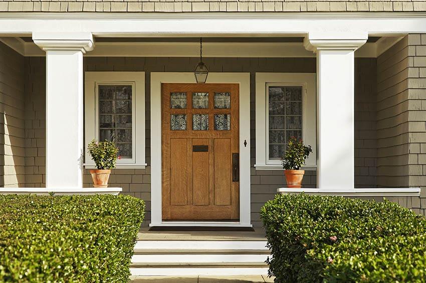 Craftsman home wood front door