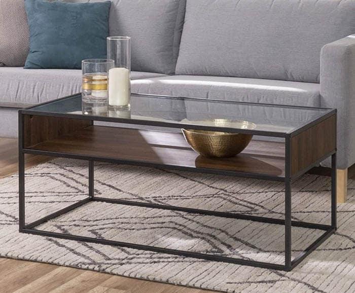 Dark walnut coffee table with glass top