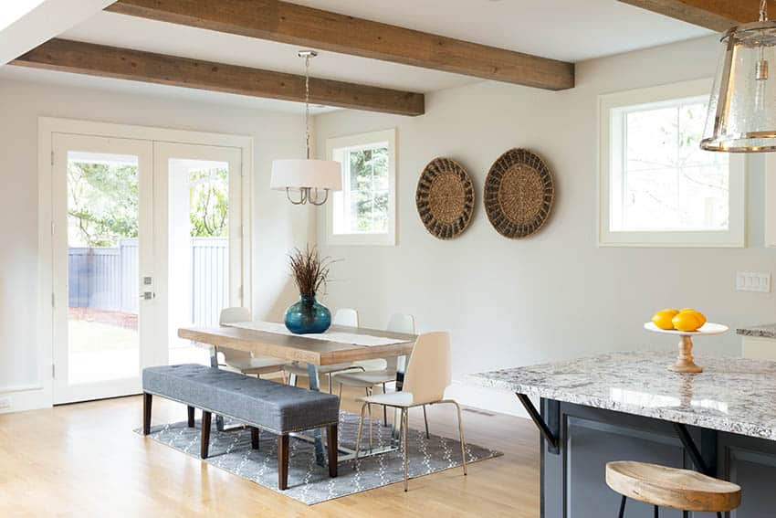 Dining room with exterior french doors