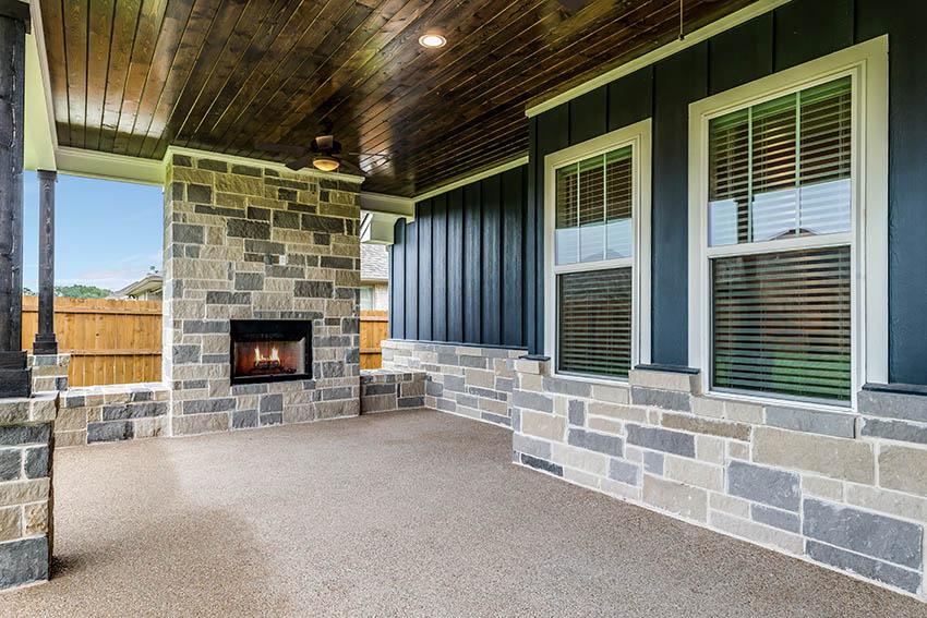 Epoxy chip patio flooring