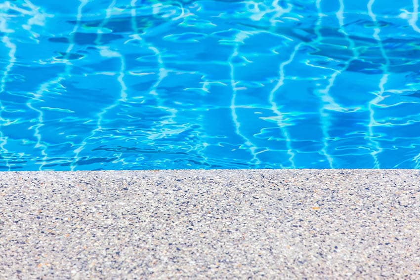 Exposed aggregate patio pool deck