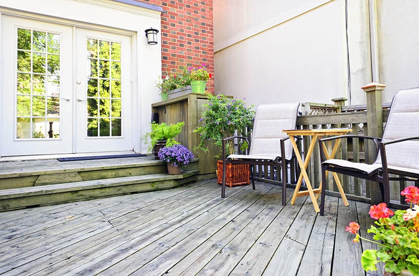 Exterior french doors to wood deck