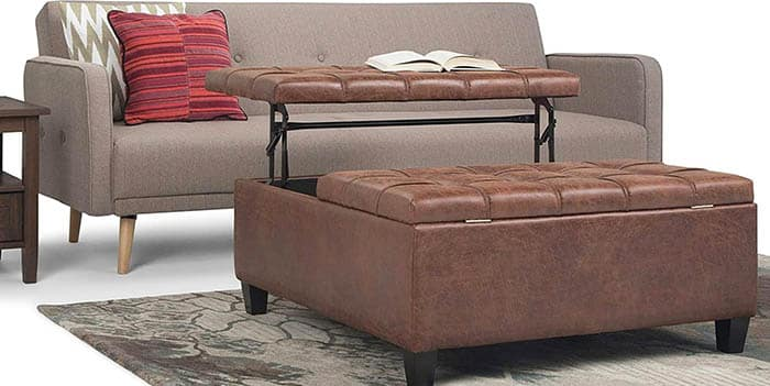 Faux leather storage ottoman with lifting table