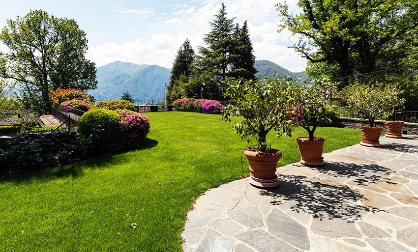 Fieldstone pattern bluestone patio design with potted plants grass border