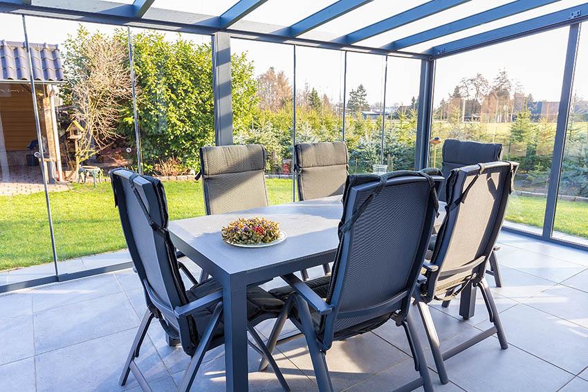Glass patio enclosure with aluminum frame