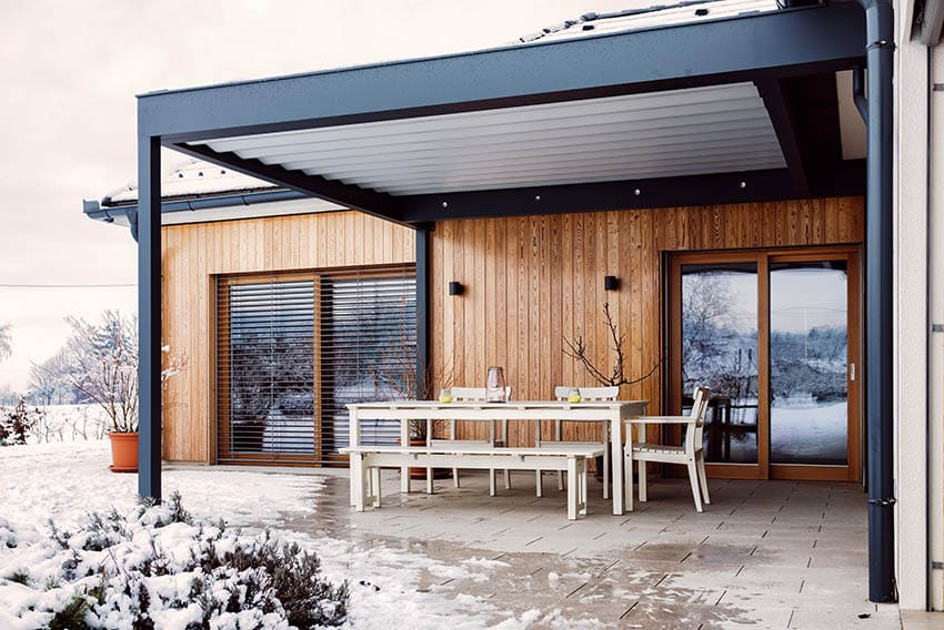 Insulated patio cover on modern home