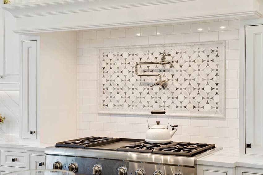 Kitchen pot filler faucet above range