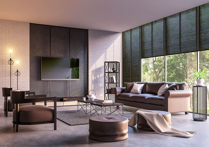 Living room with black blinds