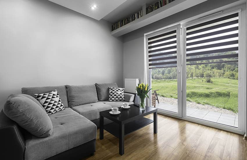 Living room with gray walls and gray blinds
