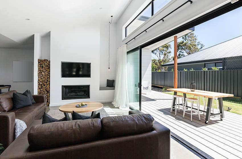 Living room with large sliding doors