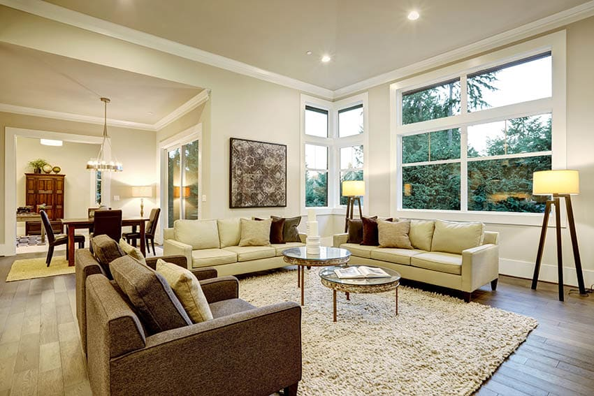 Living room with matching wall and ceiling paint wood floors large windows