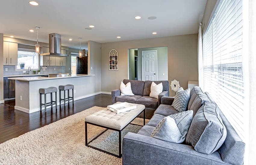 Living room with sofas and padded ottoman
