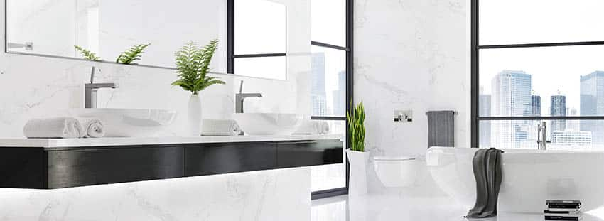 Luxury bathroom with vessel sinks tub with views